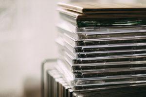 CD albums stack